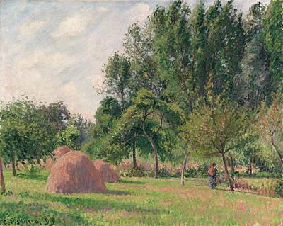 Corn Painting - Haystacks, Morning, Eragny by Camille Pissarro
