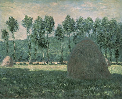 Claude Painting - Haystacks Near Giverny by Claude Monet