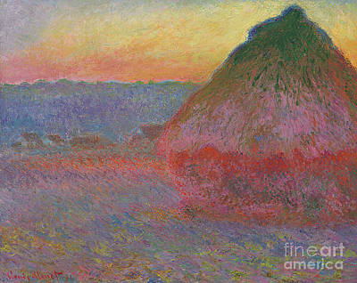 Morn Painting - Haystacks, Pink And Blue Impressions, 1891 by Claude Monet