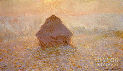 Rising Sun Painting - Haystacks, Sun In The Mist by Claude Monet