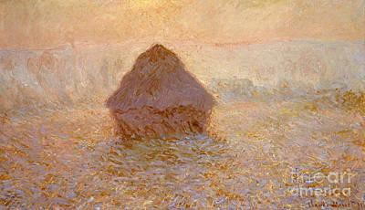 Haystacks, Sun In The Mist Art Print by Claude Monet