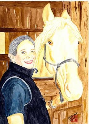 Watercolor Painting - Hazel Johnson And Sunny by Arlene  Wright-Correll