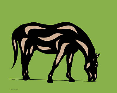 Digital Art - Hazel - Pop Art Horse - Black, Hazelnut, Greenery by Manuel Sueess