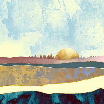 Abstract Landscape Digital Art - Hazy Afternoon by Katherine Smit