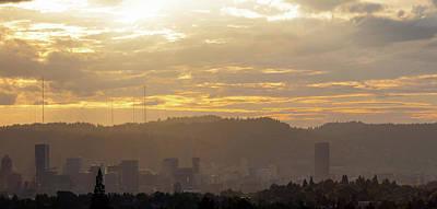 Photograph - Hazy Afternoon Over Portland Oregon Skyline by Jit Lim