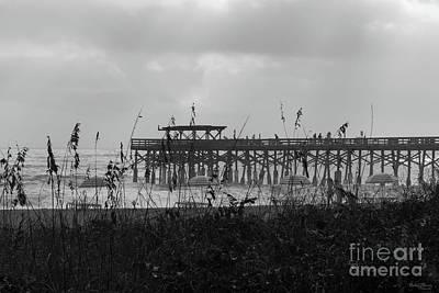 Photograph - Hazy Beach Morning Grayscale by Jennifer White