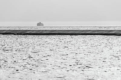 Photograph - Hazy Car Ferry Coming Into Port At Ludington by Sue Smith