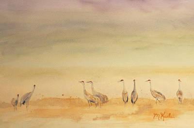 Hazy Days Cranes Art Print