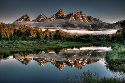 Teton Mountains Photograph - Hazy Reflections At Scwabacher Landing by Ryan Smith