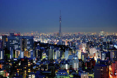 Illuminated Photograph - Hazy Skyline With Tokyo Sky Tree by Hidehiko Sakashita