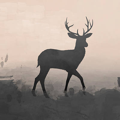 Deer Digital Art - Hazy Stag 1 by Amanda Lakey