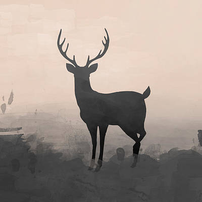 Deer Digital Art - Hazy Stag 2 by Amanda Lakey