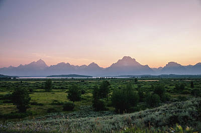 Photograph - Hazy Sunset In The Tetons by Margaret Pitcher