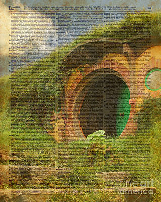 Tapestries - Textiles Digital Art - he Bag End Hobbit House Lord of the Rings Shire Illustration Dictionary Art by Jacob Kuch