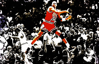 Patrick Ewing Painting - Michael Jordan Sweet Victory by Brian Reaves