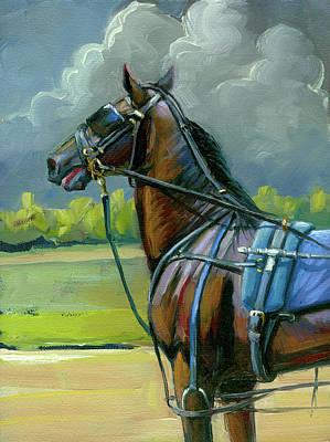 Art Print featuring the painting He Doesn't Like Thunder by Lesley Spanos