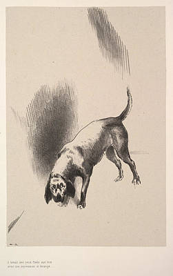 Buy Dog Art Drawing - He Fixed His Eyes On Me With An Expression That Was So Strange by Odilon Redon