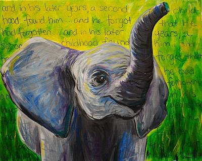 Happy Elephant Painting - He Forgot by Emily Page