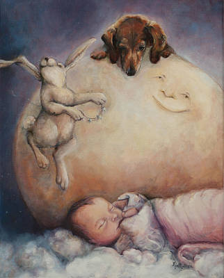 Dachshund Oil Painting - He Hung The Moon And Stars Just For You- Fine Art Print by Kim Guthrie