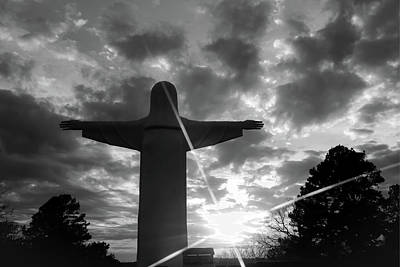 Photograph - He Is Risen - Christ Of The Ozarks - Eureka Springs - Black And White by Gregory Ballos