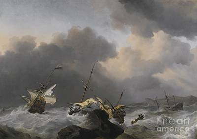 Another Painting - He Jupiter And Another Dutch Ship Wrecked On A Rocky Coast In A Gale by MotionAge Designs