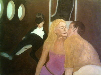 Painting - He Kisses Her Cheek But There's A Man Unconscious In The Corner, Wearing A Top Hat by Peter Gartner