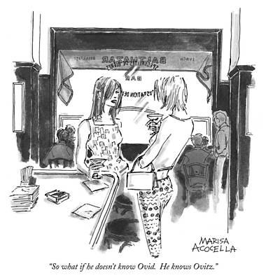 Marisa-acocella-marchetto Drawing - He Knows Ovitz by Marisa Acocella Marchetto