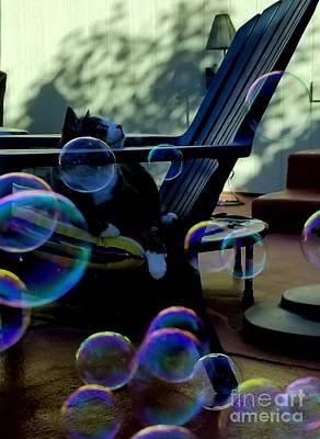 Digital Art - He Loves Bubbles by Lisa Kaiser