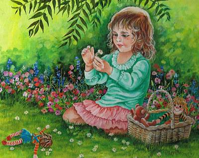 Raggedy Ann Painting - He Loves Me---he Loves Me Not. by Val Stokes