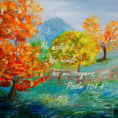 Bible Painting - He Makes The Winds His Messengers by Eloise Schneider