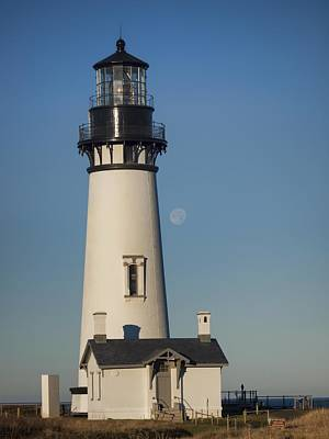 Photograph - The Moon Behind Yaquina Head by HW Kateley