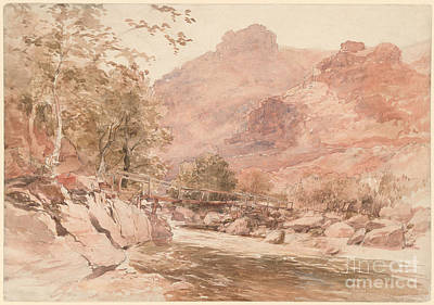 Old North Bridge Painting - he Old Miner's Bridge over the River Conway by Celestial Images