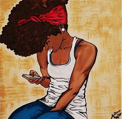 Natural Hair Painting - He Texted Me by Autumn Leaves Art