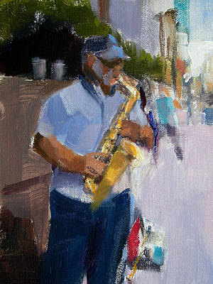 He Was Playing Real Good For Free Art Print by Merle Keller