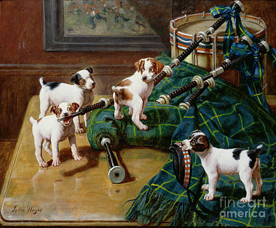 Pup Painting - He Who Pays The Piper Calls The Tune by John Hayes