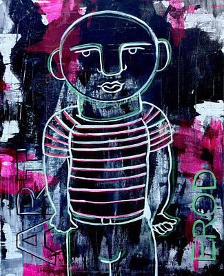 Urban Subway Painting - He Wore Stripes by Robert R Splashy Art Abstract Paintings