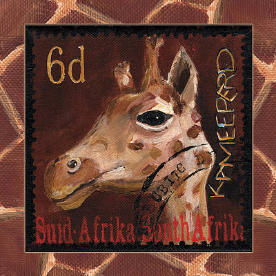 Postage Stamps Painting - Head Above The Rest - Giraffe by Debbie McCulley
