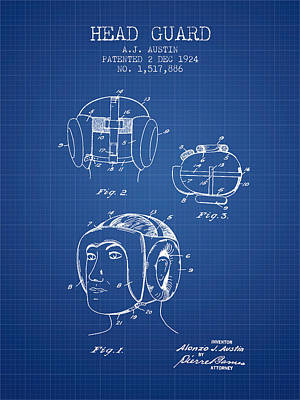 Head Guard Patent From 1924 - Blueprint Art Print by Aged Pixel