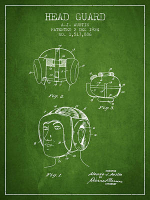 Heads Digital Art - Head Guard Patent From 1924 - Green by Aged Pixel