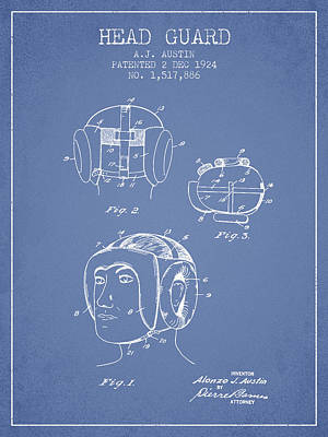 Heads Digital Art - Head Guard Patent From 1924 - Light Blue by Aged Pixel