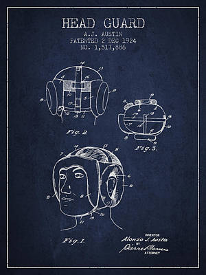 Heads Digital Art - Head Guard Patent From 1924 - Navy Blue by Aged Pixel