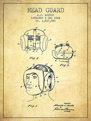 Head Gear Drawing - Head Guard Patent From 1924 - Vintage by Aged Pixel