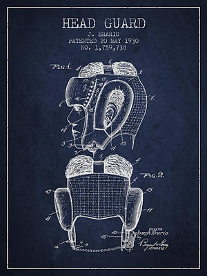 Mask Drawing - Head Guard Patent From 1930 - Navy Blue by Aged Pixel