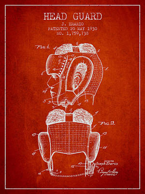 Punch Digital Art - Head Guard Patent From 1930 - Red by Aged Pixel