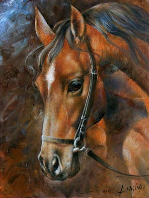 Horses Portrait Painting - Head Horse by Arthur Braginsky
