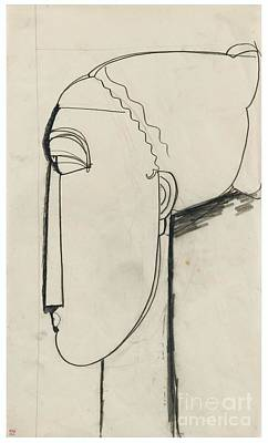 Chignon Painting - Head In Left Profile Chignon by Celestial Images