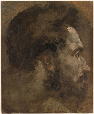 Rights Of Man Painting - Head Of A Bearded Man In Profile To The Right  by Celestial Images