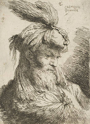 Relief - Head Of A Bearded Man With A Turban Facing Right by Giovanni Benedetto Castiglione