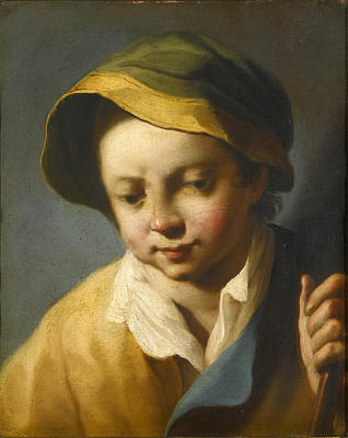 Head Of A Boy Looking Down Wearing A Green And Yellow Hat And Holding A Wooden Staff Art Print