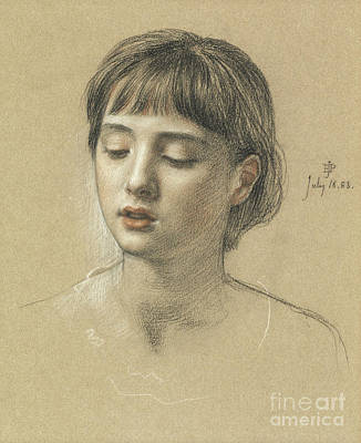 Beautiful. Pretty Drawing - Head Of A Girl, 1883 by Edward John Poynter